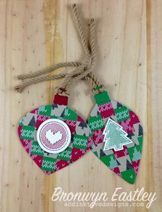 Wrapped in Warmth, Stampin' Up!, Christmas, Ornament Tags, Bargello Technique, addINKtive designs, Bronwyn Eastley
