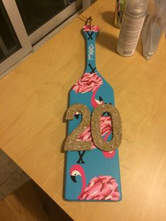 Lilly Pulitzer inspired Flamingo Delta Phi Epsilon sorority birthday paddle I made for my Littles 20th