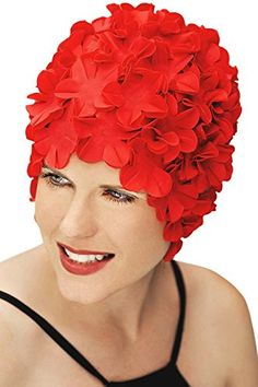 BLUE REEF Latex Rose Ladies Floral Fancy Dress Synchronised Swimming Hat Cap