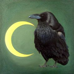 "Original Oil Painting ""Night Watch Raven"" -- ClarksonArt"
