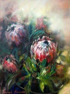 Pictures To Paint, Art Pictures, Protea Art, Protea Flower, South African Artists, Flower Canvas, Botanical Art, Artist Art, Watercolor Flowers