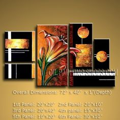 Huge Abstract Oil Painting Canvas Wall Art Modern Contemporary Tulip Flower 72 x 40 by Bo Yi Studio #1047 | Modern_Abstr US $185.00