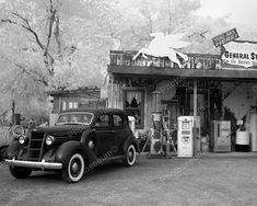 General Store & Gas Station Pumps 8x10 Reprint Of Old Photo