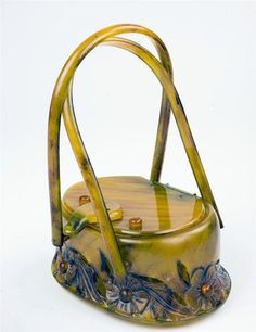 Llevellyn Gorgeous Bakelite Carved Lucite Hand Bag Purse, circa 1920