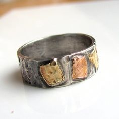Handmade sterling silver and 14K rose and yellow gold ring