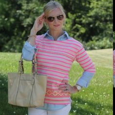 Jcrew Aztec Pink Striped Shirt Cute with jeans and shorts, a must have for spring and summer. Dress it up or down. J. Crew Tops