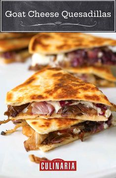 These unconventional quesadillas are gooey with tangy goat cheese, salty tapanade, and earthy grilled radicchio. Equally impressive as an appetizer or solo supper. #easyrecipes #fastrecipes #weeknight #vegetarian Quesadillas, Vegetarian Breakfast, Vegetarian Recipes, Diet Recipes, Cheese Quesadilla Recipe, Best Appetizer Recipes, Appetizers, Electric Skillet Recipes, Cast Iron Recipes