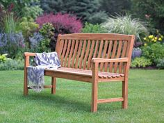A heavy, very sturdy outdoor patio bench made from Indonesian teak wood. This is a classic design 5 foot long teak wood bench with a seat depth of 24 inches and a height of 37 inches. Sheesham Wood Furniture, Teak Outdoor Furniture, Garden Furniture, Furniture Care, Furniture Design, Patio Bench, Benches, Teak Oil, Outdoor Decor