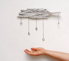 Driftwood Cloud with Vintage Crystal Raindrops  by StarHomeStudio, $72.00