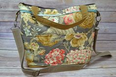 Diaper bag in Vintage Floral Mustard Yellow, mint, rose CROSS BODY / Waterproof  Baby Gear + Market tote  by Darby Mack & Made in the USA!