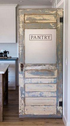 New House: 5 Ideas for Pantry Doors Farmhouse style antique kitchen. New House: 5 Ideas for Pantry D Rustic Pantry Door, Kitchen Pantry Doors, Pantry Room, Walk In Pantry, Barn Doors For Pantry, Corner Pantry, Kitchen Cabinets, Rustic Doors, Ikea Kitchen