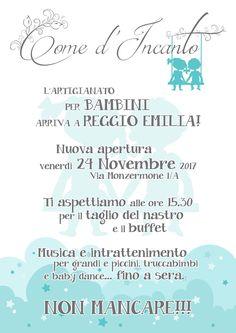 Come d'Incanto...l'Artigianato per Bambini arriva a REGGIO EMILIA..prossima apertura venerdì 24 Novembre 2017 in Via Monzermone 1/A.. Un progetto innovativo ed ambizioso..uno spazio ideato per mamme e bambini. Condividiamo perché convinti che possa essere qualcosa di nuovo che a Reggio Emilia mancava e tra pochi giorni ci sarà... Partecipiamo numerosi...
