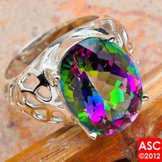 a rainbow of color!  mystic topaz ring