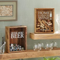 Provide your beer or wine enthusiast with the perfect showcase for their cap or cork collection. Provide your beer or wine enthusiast with the perfect showcase for their cap or cork collection. Wine Display, Display Boxes, Home Decor Kitchen, Diy Home Decor, Diy And Crafts, Arts And Crafts, Wine House, Wine Cork Crafts, Beer Caps