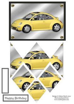 Yellow Bug Auto Diamond Stacker Card on Craftsuprint designed by Julene Harris - For bug lovers everywhere! Compact and stylish all in one! Please click on my name to view more of my designs. - Now available for download!