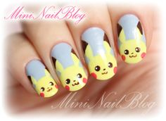 Mini Nail Blog: Pikachu Nail Art (o^∇^o)☆
