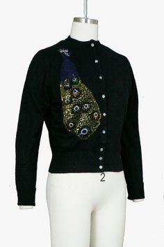 Vintage 1950s Beaded Peacock Cardigan Dark Navy Blue Sweater | Etsy Vintage Sweaters, Blue Sweaters, Dark Navy Blue, Black, Navy Blue Sweater, Blue Tones, Peacock, 1950s, Overalls