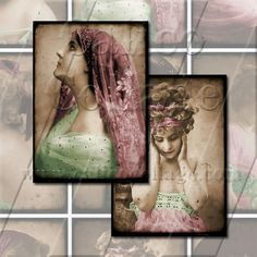 Fair Ladies in Pink and Green  Digital Collage by calicocollage, $3.75