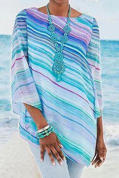 Striped Irregular Hem Sleeves Casual T-shirt - Regocy Fashion Pants, Fashion Tips, Fashion Articles, Classy Fashion, Grunge Fashion, 80s Fashion, Modest Fashion, Boho Fashion, Style Fashion