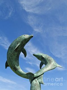 Leaping Dolphin Sculpture By David Wynne In The Garden Of The Former Island  Hotel On Tresco