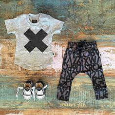 NEW • Huxbaby organic X tee, alphabet drop crotch pants & infant Converse Chucks • www.tinystyle.com.au