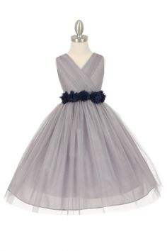 Silver/Navy Blue Tulle V-Neck with Removable Floral Sash Flower Girl Dress CC-1220-SNB on www.GirlsDressLine.Com