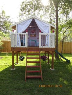 Raised clubhouse. I thought I wanted a swing set but... #outdoorplayhouse