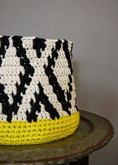 Big Crochet Basket Black Ikat pattern on Stone by DeliriumDecor