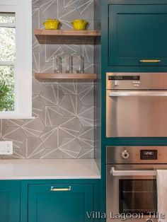 """Villa Lagoon Tile's exclusive """"Crowe's Feet"""" hexagonal cement tile featured in the Inspired Spaces Design House Kitchen."""