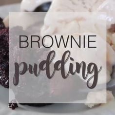 Decadent and delicious, this brownie pudding is a chocolate lover's dream come true! An outer brownie shell hides molten chocolate pudding underneath. Just Desserts, Delicious Desserts, Dessert Recipes, Yummy Food, Lunch Recipes, Healthy Food, Dinner Recipes, Healthy Cooking, Pasta Recipes