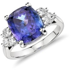 Blue Nile Tanzanite and Diamond Ring in 18k White Gold (5.81 cts) (29.375 BRL) ❤ liked on Polyvore featuring jewelry, rings, tanzanite jewelry, diamond jewelry, round ring, white gold diamond rings and tanzanite white gold ring