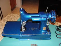 metallic blue singer sewing machine