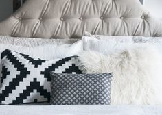 DIY Linen Tufted Headboard - neutral + gray bedroom