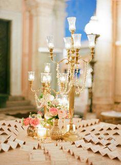 Romantic gold centerpiece #lenoxweddingcolors @Lenox