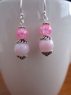 Tween Pink Glass Bead/Resin Sterling by BeadazzlingButterfly, $12.00