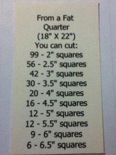 What you can cut out of a Fat quarter