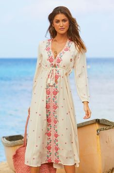 a352b9045b3 ASPIGA · SS19 Collection · Sonia Embroidered Midi Dress