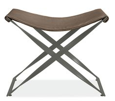 Karr stool in pewter leather with gunmetal base by Room & Board®