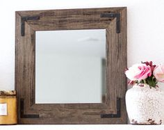 Rustic Wall Mirror - Small Wall Mirror - 18 x 18 Mirror - Rustic Mirror - Reclaimed Wood Mirror - Decorative Mirror - Farmhouse