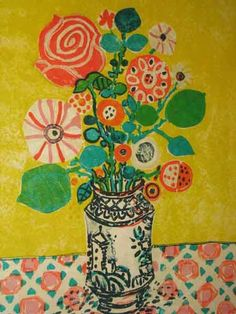 this painting. alipikku:  Paul Aizpiri (French 1919 - ) Lithograph Flowers in A Vase