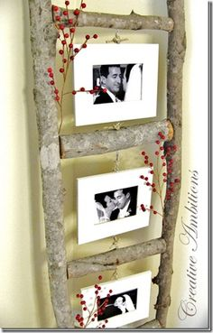 """Now this is simply wow! What better way to reuse your old ladder and make it not just usable, but make it into a gorgeous photo frame! =) #DIY #Crafts #Ladder #Reuse #Recycle 