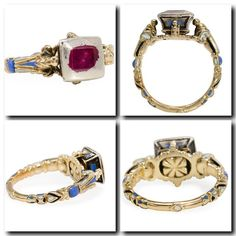 The ring presented here draws its inspiration directly from the Renaissance. Rings from that period were generally embellished with enamel and set with small gems which at the time were both scarce and costly. Even the small white enameled area at the base of the shank is pure Renaissance in inspiration. As demonstrated here, a clear distinction between the bezel, shoulders and shank was classic during the 16th century as are the shoulders arching upwardly to contact the center form.