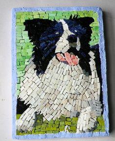 Dog Mosaic Pet Portrait Patches by LachanceGlassMosaic on Etsy