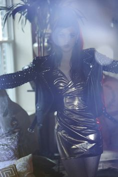 Nasty Gal Liquid Gold Dress & Maison Scotch Rocker Leather Jacket #nastygal #editorial