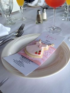 Adorable cookies at a ballerina baby shower! See more party planning ideas at CatchMyParty.com!