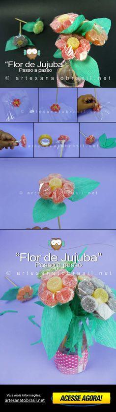 Flor de jujubas passo a passo: http://artesanatobrasil.net/aprenda-com-fazer-flor-de-jujuba-passo-a-passo/ #artesanato #artesanatobrasil #flor #flores #passoapasso #decoração #festainfantil #aniversário