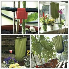 Controls the flow of water to your plants in your absence. Gravity fed watering system with 5 litre water bag Garden Irrigation System, Drip Irrigation, Outdoor Gardens, Indoor Outdoor, Indoor Bonsai, Water Systems, Flow, Make It Yourself, Table Decorations