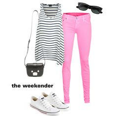 *To complete: black striped tank, pink pants, white converse