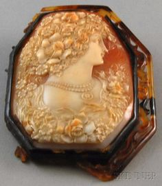 Antique Carved Shell Cameo Brooch Depicting The Figure Of Flora IN Profile, Mounted In A Tortoiseshell Frame