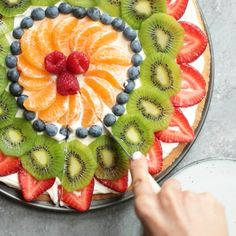 Fruit Pizza - Fruit Pizza is a fun and simple summer recipe made from a . - Fruit Pizza – Fruit Pizza is a fun and simple summer recipe made from a biscuit crust – - Easy Summer Desserts, Easy Summer Meals, Kid Desserts, Cookie Desserts, Summer Recipes, Cookie Recipes, Easy Kids Dessert Recipes, Fruit Cookie Recipe, Healthy Summer